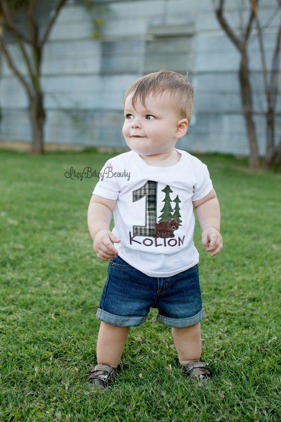 Baby Boys Woodland First Birthday Shirt