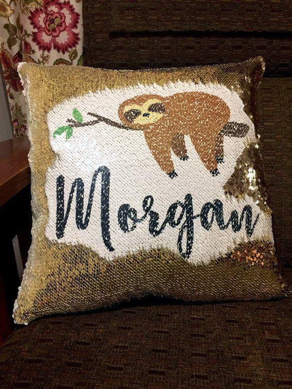 Sequin Sloth cushion