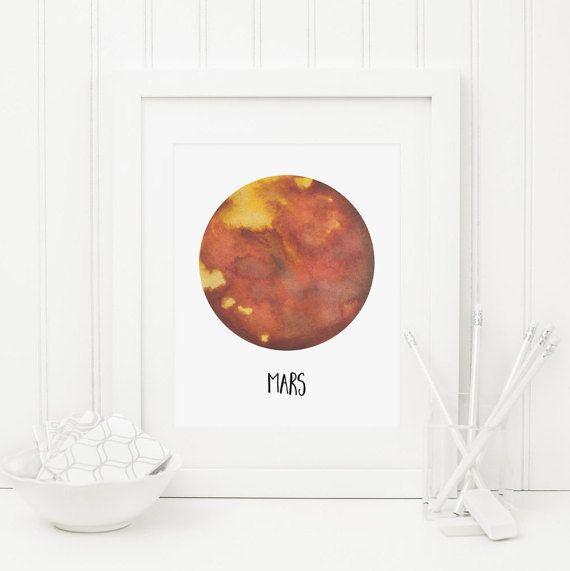Mars Printable Nursery Planet Wall Art By Mossandtwigprints