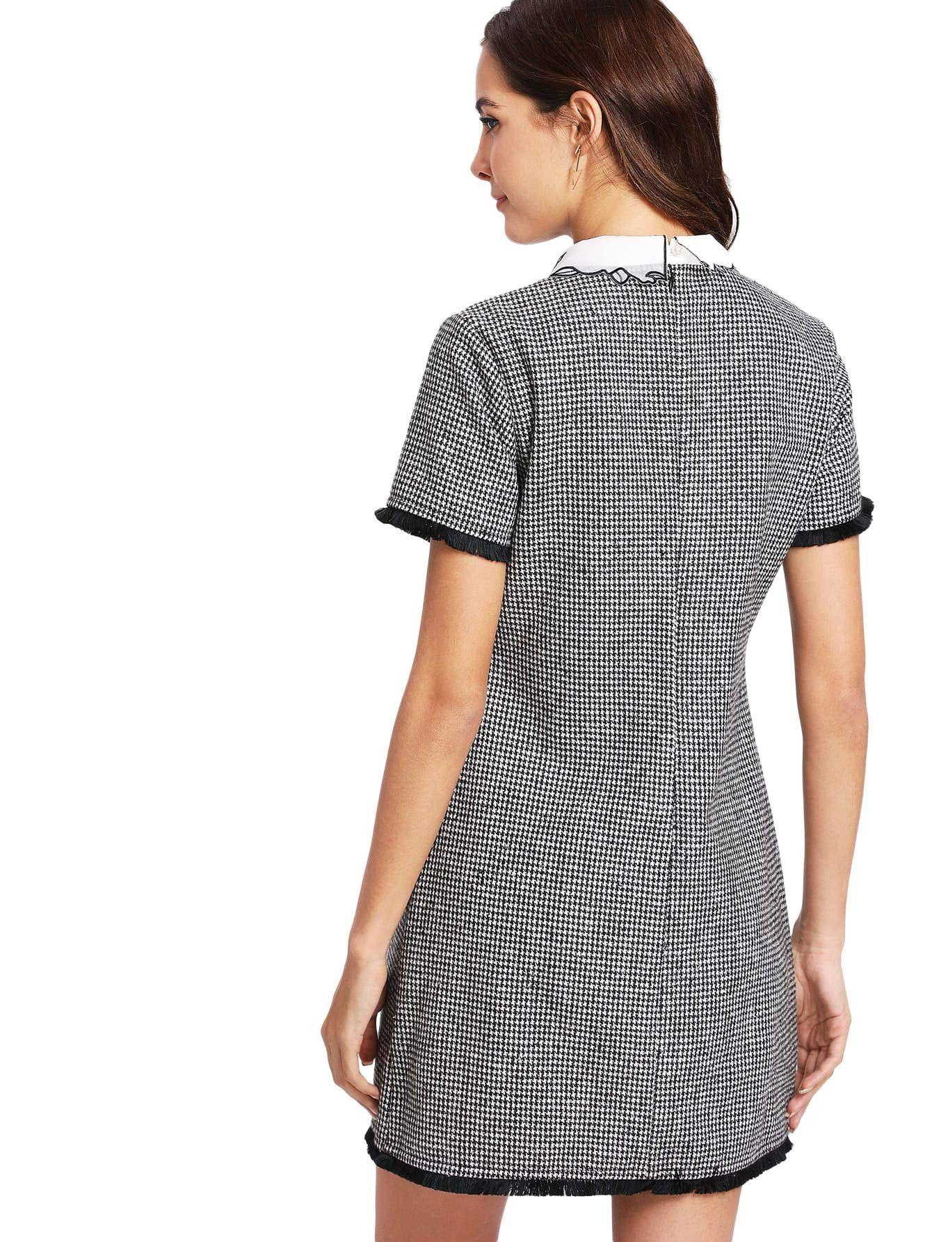 5a9250c3a9b1d Floerns Women s Perter Pan Collar Short Sleeve Plaid Shift Tunic T-Shirt  Dress