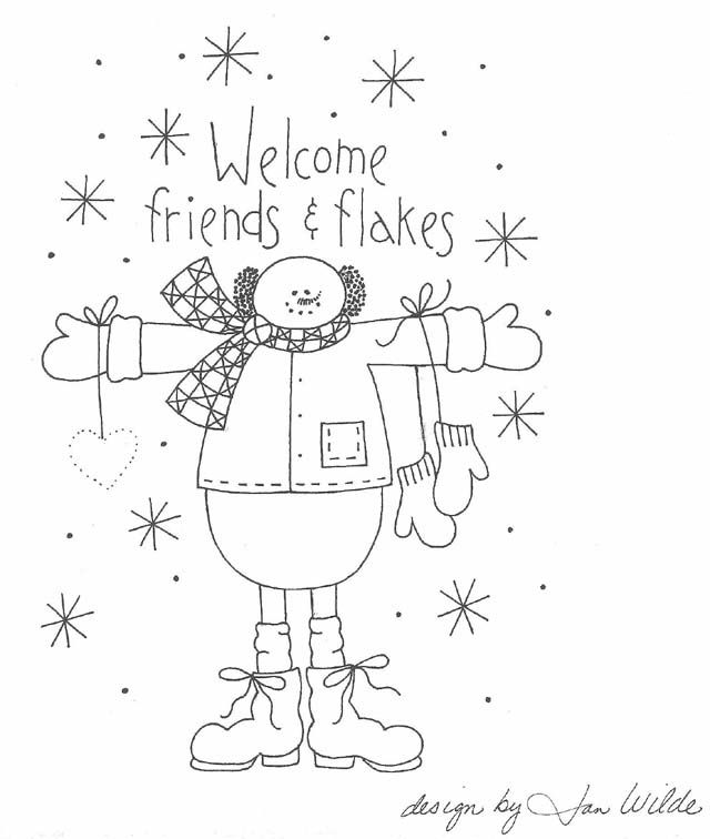 Welcome Friends Flakes Embroidery Pattern Crafts Embroidery