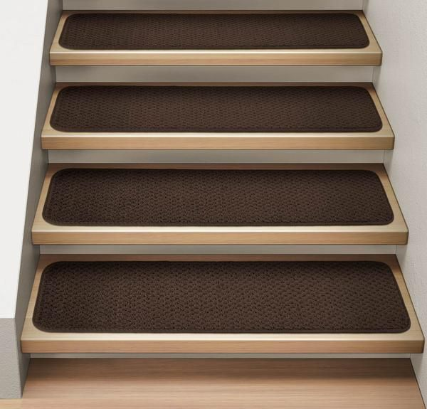 Set Of 15 Attachable Carpet Stair Treads Chocolate Brown