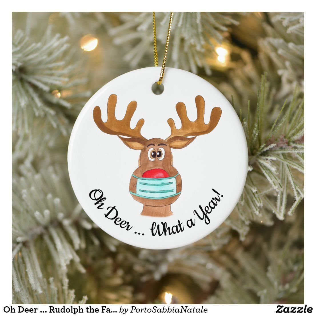 Oh Deer Rudolph The Face Masked Reindeer Ceramic Ornament Zazzle Com Christmas Humor Diy Christmas Ornaments Hanging Christmas Stockings