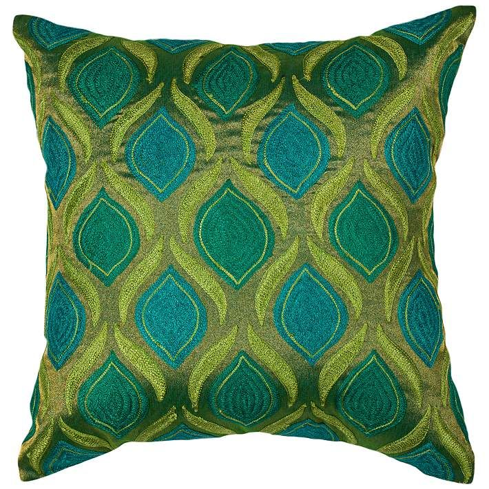 Tribeca Teal And Green 40 Square Decorative Pillow 40M5340 Lamps Interesting Teal Green Decorative Pillows