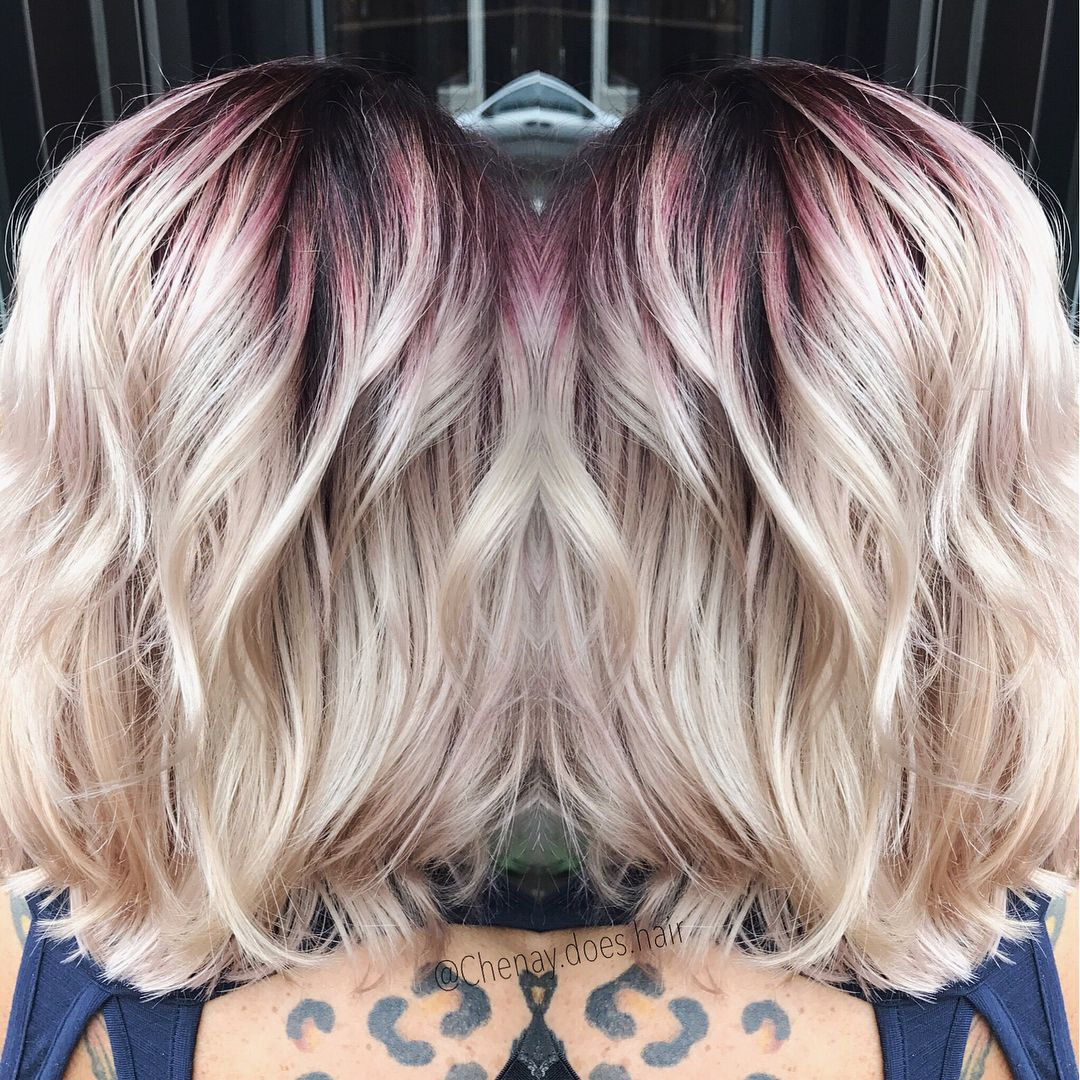 Chenay Does Hair On Instagram Magenta Shadow Root And Platinum Blonde Blonde Red Hair Short Red Blonde Hair Short Red Hair Red Roots Blonde Hair