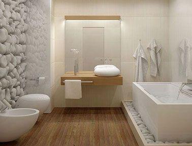 Salle De Bain Design Avec Parquet Et Mur Galet Blanc Deco