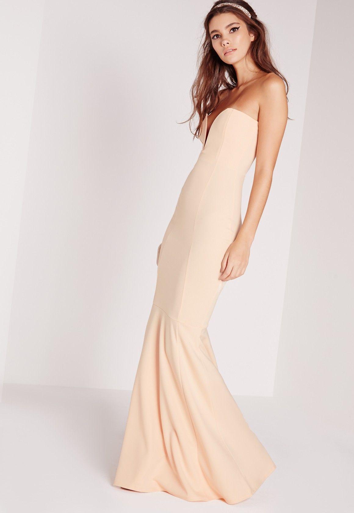 3e016b55 Missguided - Scuba Bandeau Fishtail Maxi Dress Nude | style in 2019 ...