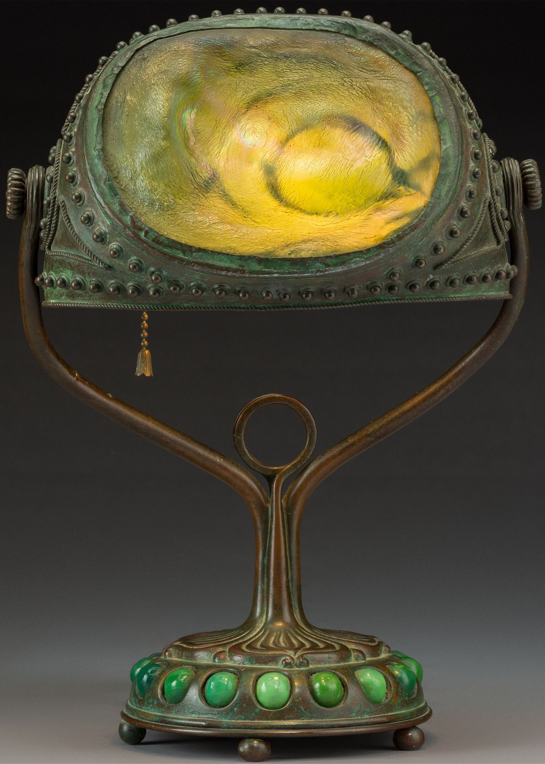 A Tiffany Studios Bronze And Turtleback Glass Tile Desk Lamp Corona New York Circa 1910 Marks Tiffany Studios New York Glass Tile Art Nouveau Lamps Lamp
