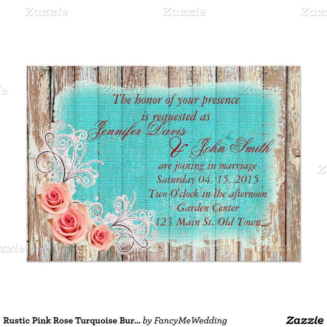 Rustikale rosa Rosen-Türkis-Leinwand, die rpr42 422,42 X 4242,42 Cm ... - Einladungskarten Hochzeit Rosen