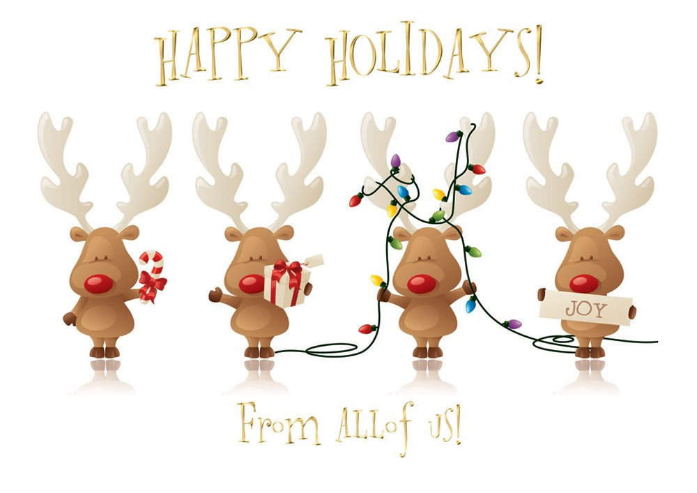 Cheery Reindeer From All Of Us Holiday Card - Discount Greeting ...