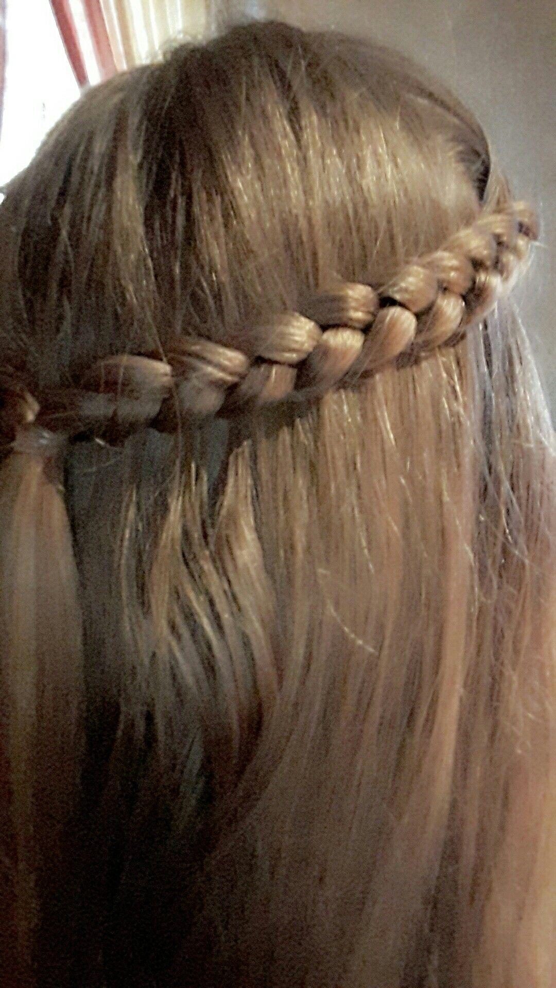 2 Hollöndische Zöpfe Nach Hinten Geflochten Und Mit Einem Haargummi