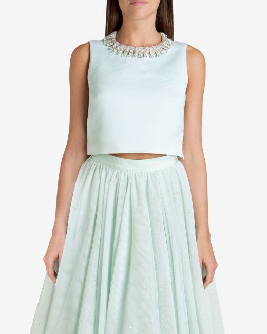 Cropped embellished top - Pale Green