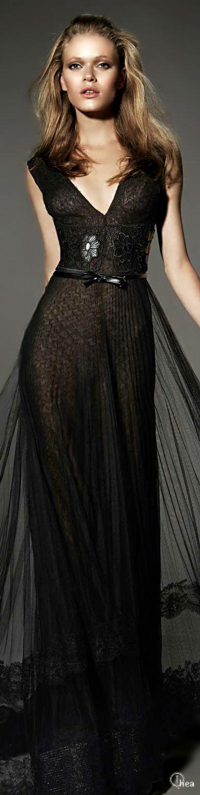 Yolan Cris AW 2015 | Keep The Glamour ♡ ✤ LadyLuxury ✤ black sheer evening dress. www.misskrizia.com