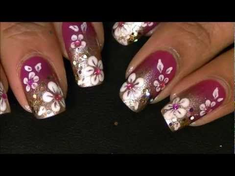 PINK GOLD GRADIENT NAILS - http://www.nailtech6.com/pink-gold-gradient-nails/