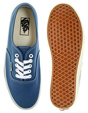 Vans Authentic Classic Navy/ White Lace Up Trainers | Navy blue ...