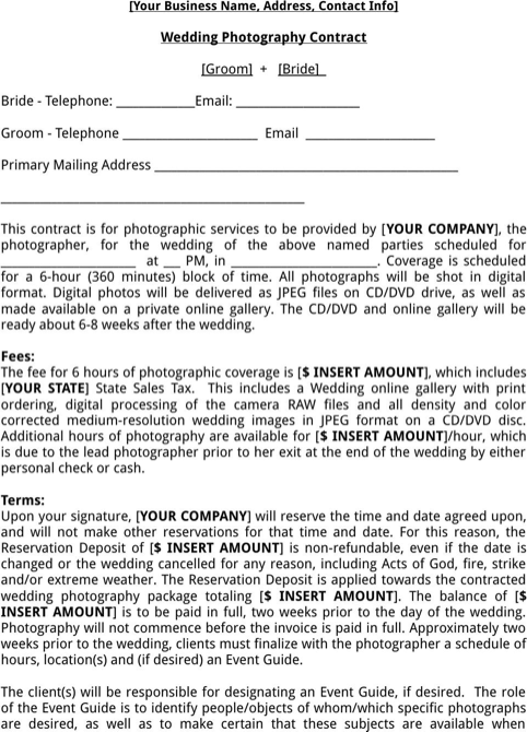 Wedding Photography Contract Template  TemplatesForms