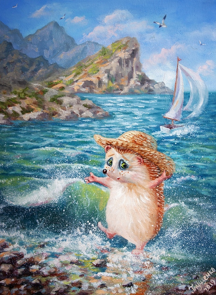 Картинка ежика в море