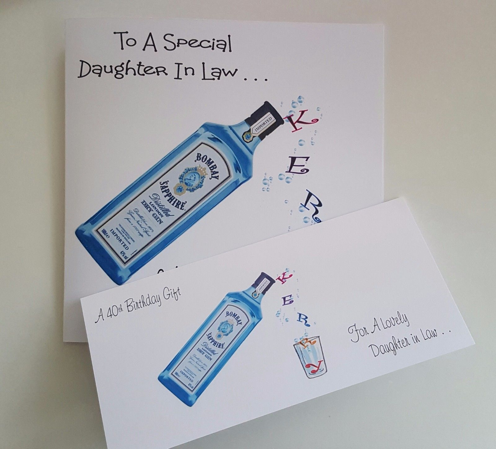 Personalised 40th Birthday Card Son In Law Bottle Gin Whiskey Prosecco Boxed O