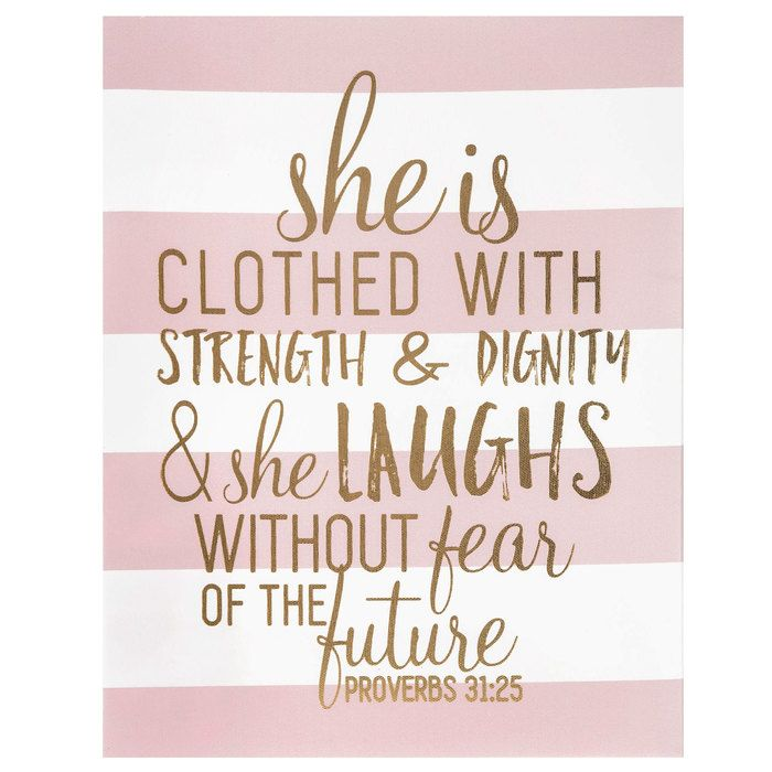 Proverbs 31 25 Striped Canvas Wall Decor Hobby Lobby Bedroom Decor For Women Canvas Wall Decor Wall Canvas