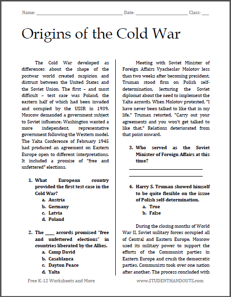 Origins of the Cold War | Free printable reading with