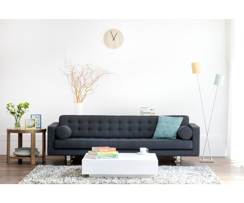 Fashion For Home - 3-Sitzer Sofa Chelsea Leder Schwarz (Kufen)