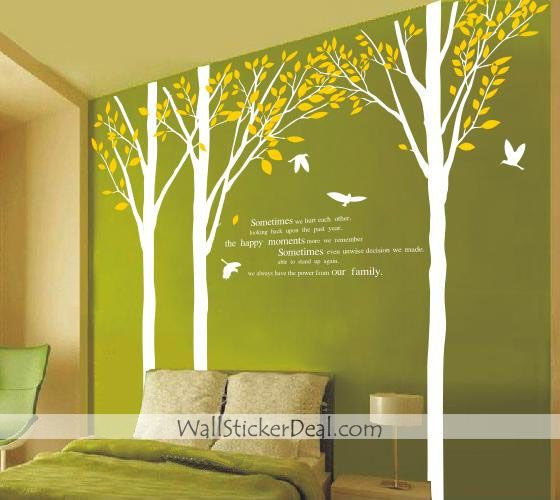 Sometimes We Hurt Each Other Tree And Birds Wall Sticker - Yellow bird wall decals