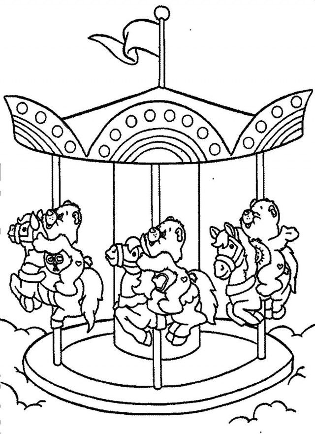 merry go round coloring pages - download care bears riding on merry go round coloring