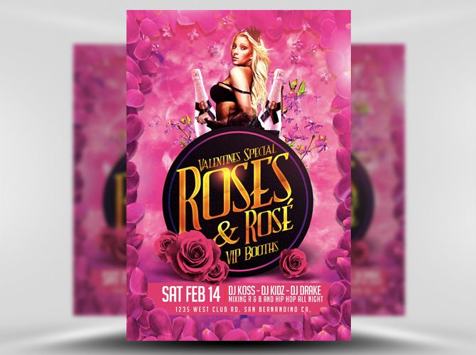 roses rosé flyer template is a pink and gold valentine s day