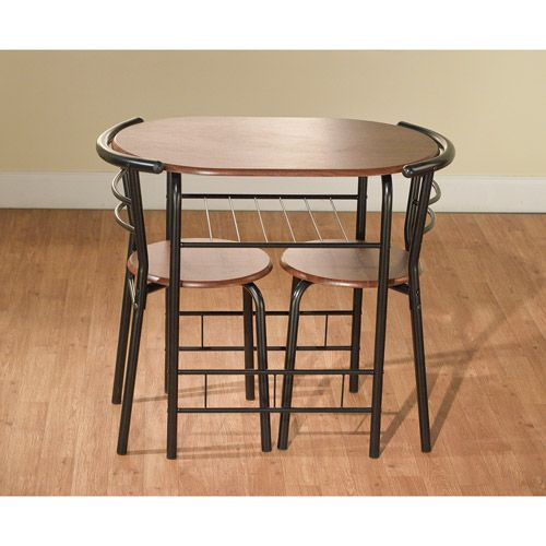 3 Piece Bistro Set Table 2 Chairs Dinette Black Space Saver Dining