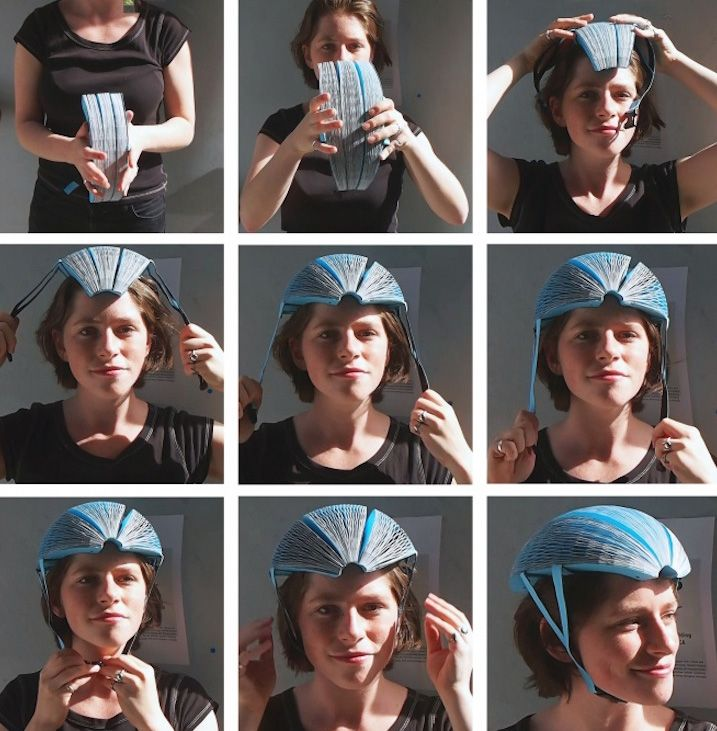Flat Pack Paper Bicycle Helmet This Collapsible Helmet Is