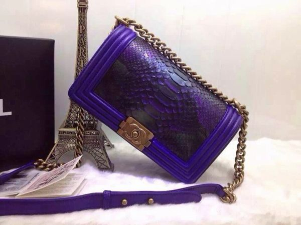 Chanel snake skin Le boy flap bag Purple