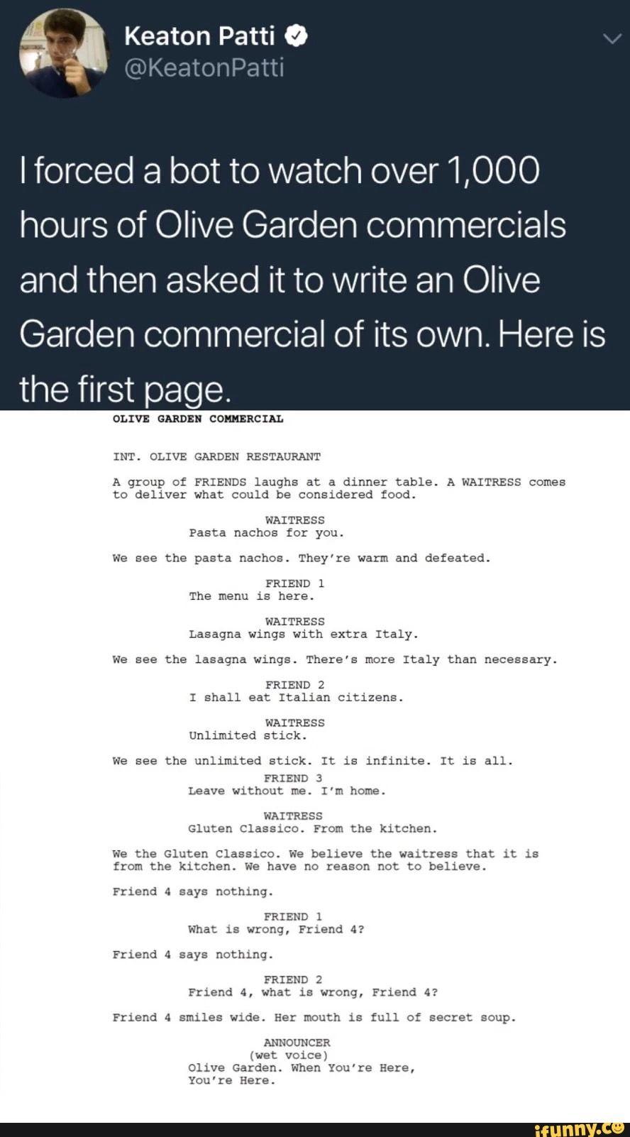 Olive Garden Meme Bot
