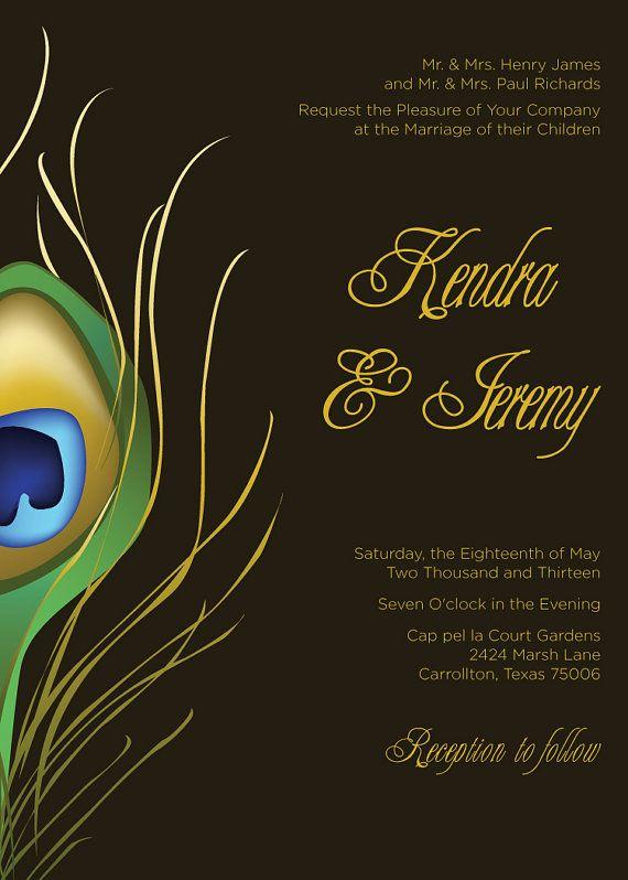 Printable Peacock Wedding Invitation By JasperDesign On Etsy 3500