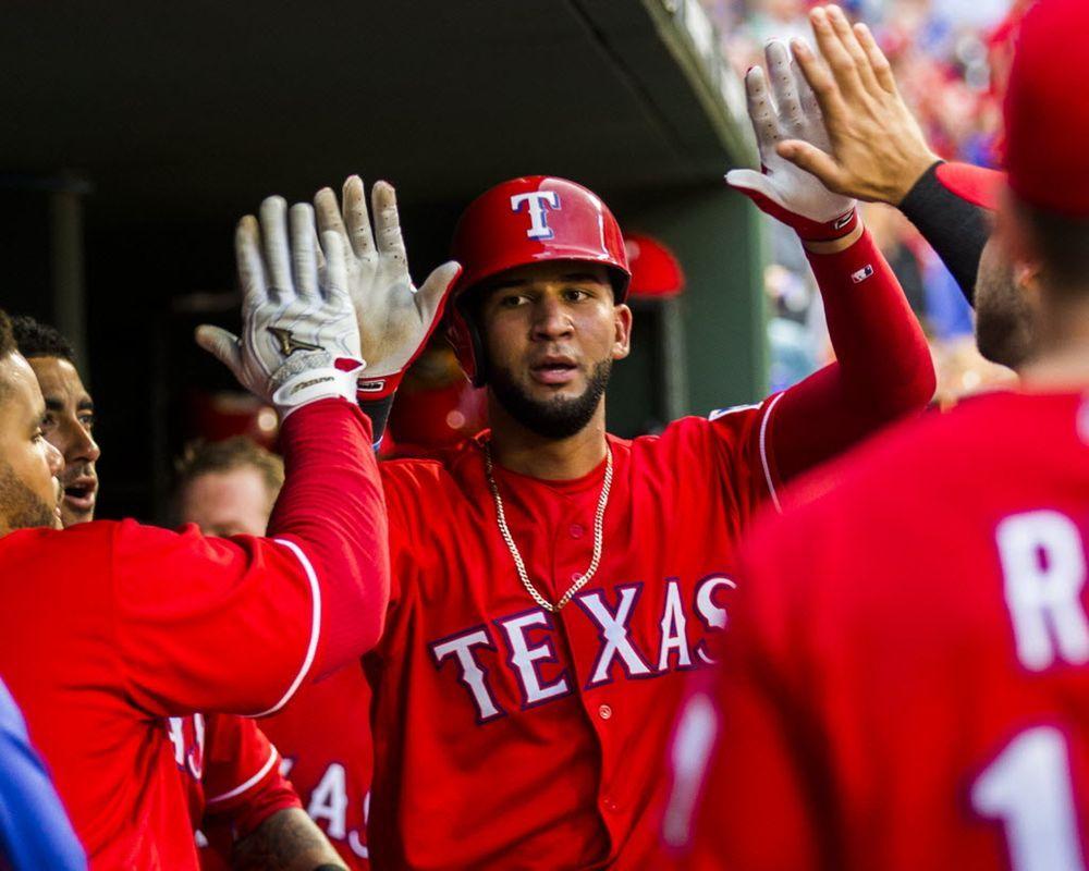 Texas Rangers right fielder Nomar Mazara (30) celebrates a