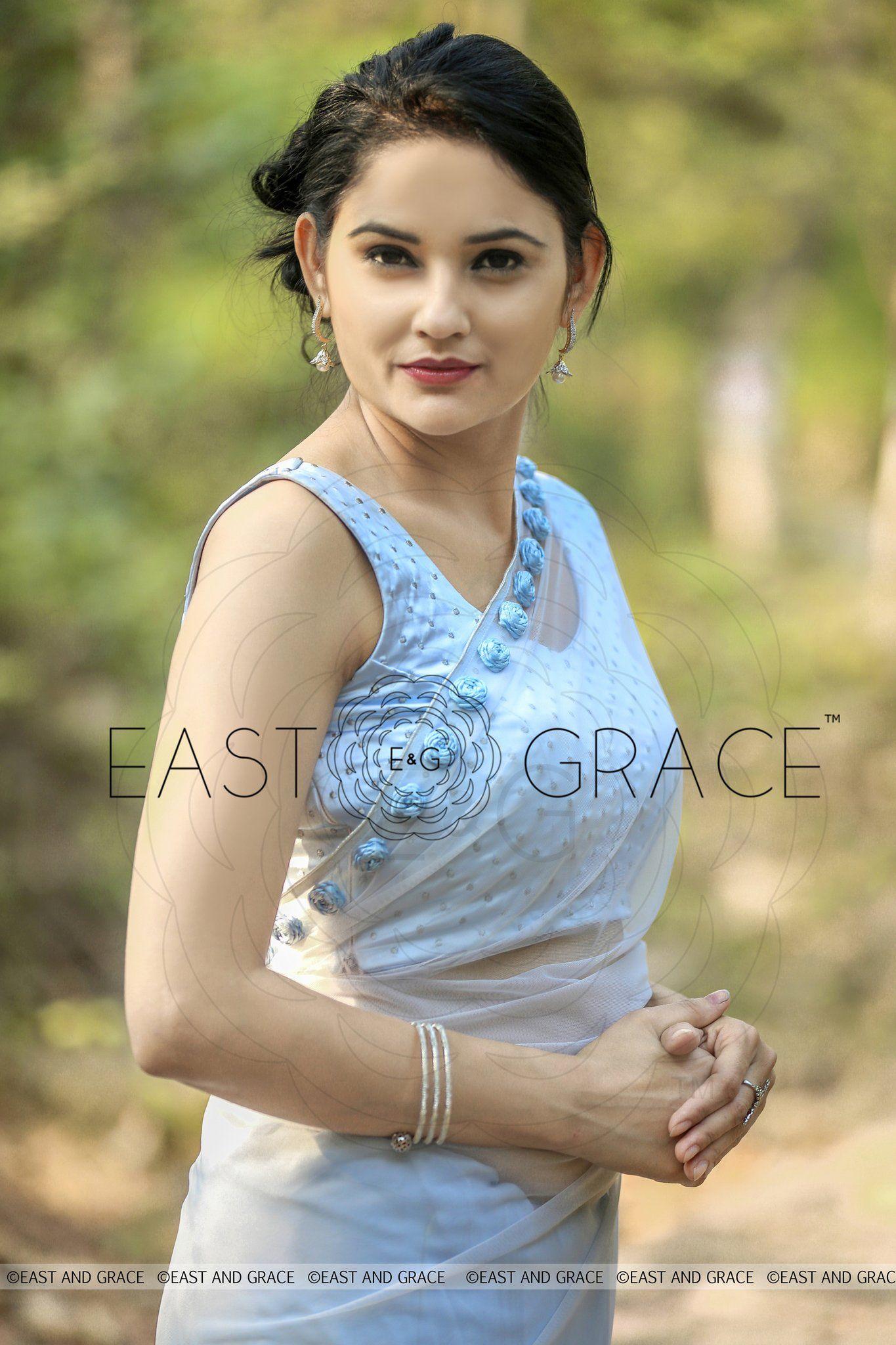 3b627b1da440e Moonlight Powder Blue Ribbonwork Roses Silk Chiffon and Net Saree Saree  Blouse Patterns