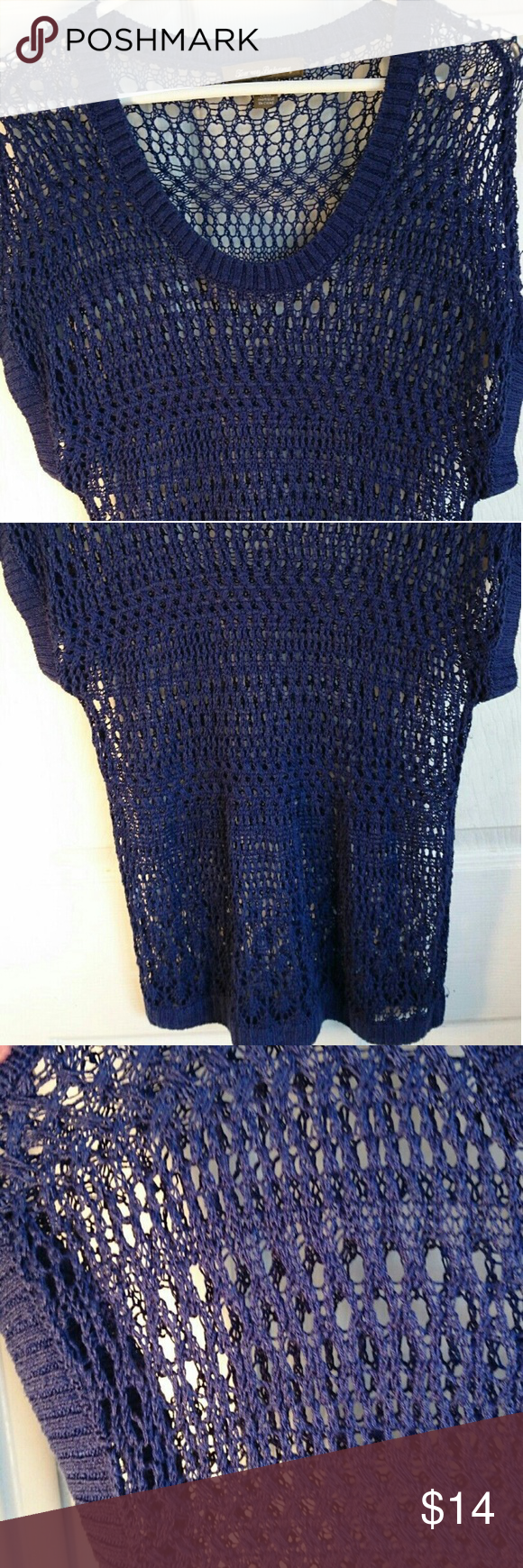 Fish Net Bathing Suit Cover Up This is a cute dark blue fish Net style bathing suit cover up which would also look good worn with a cami and a pair of shorts. It is in excellent condition with no rips, loose material, or stains. Tommy Bahama Swim Coverups