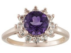 Stratify (Tm) 1.22ctw Uruguayan Amethyst With .60ctw White Topaz 18k Rose Gold Over  Silver Ring