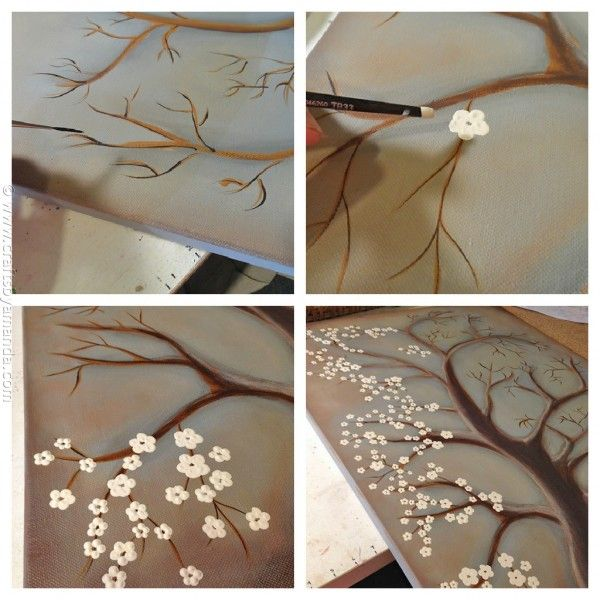 White cherry blossom tree painting steps for Canvas painting of cherry blossoms