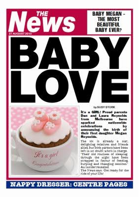 Personalise your own newspaper for a new baby