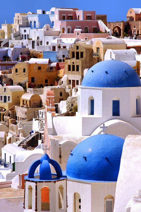 Santorini, Greece.  Ugh, the colors here are beautiful. Why, why, why can't it be this colorful here?
