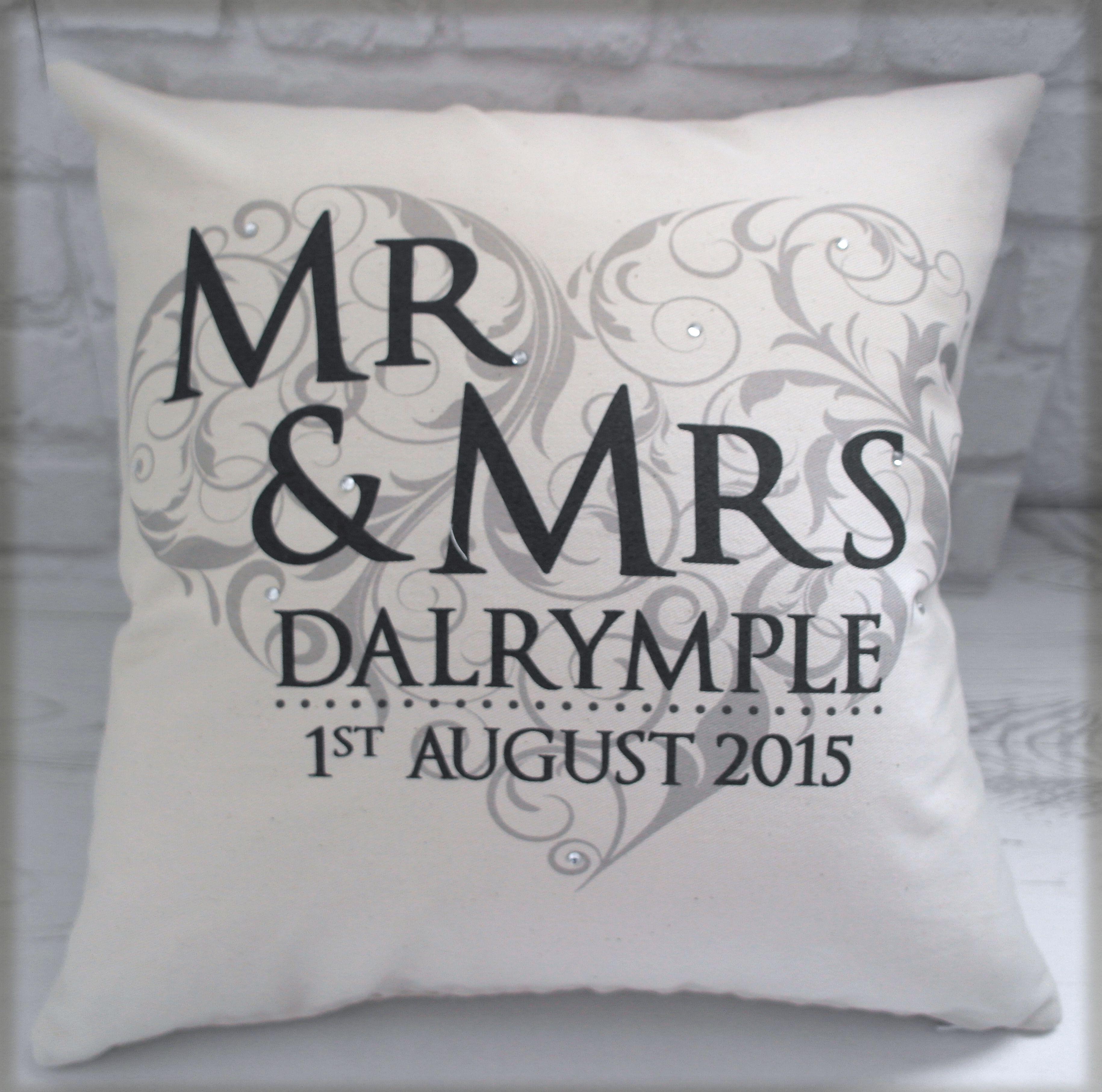 Mr u mrs cushion elegant design which incorporates the couples