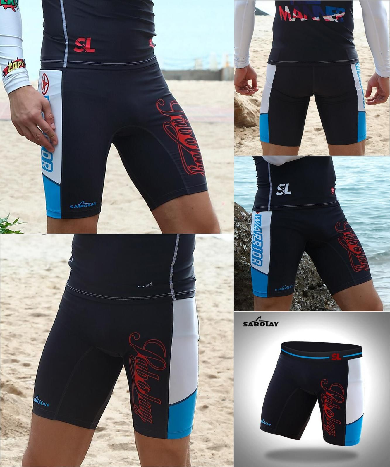 SABOLAY Men Long Wetsuit Pants Quick Dry Diving Tights UV Protective Beach Swim Trunks