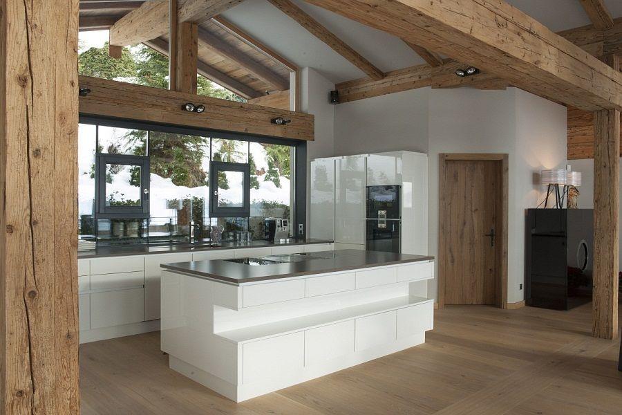 Innenarchitektur Kitzbühel edle grifflose küche in weiß in eigentumswohnung in kitzbühel