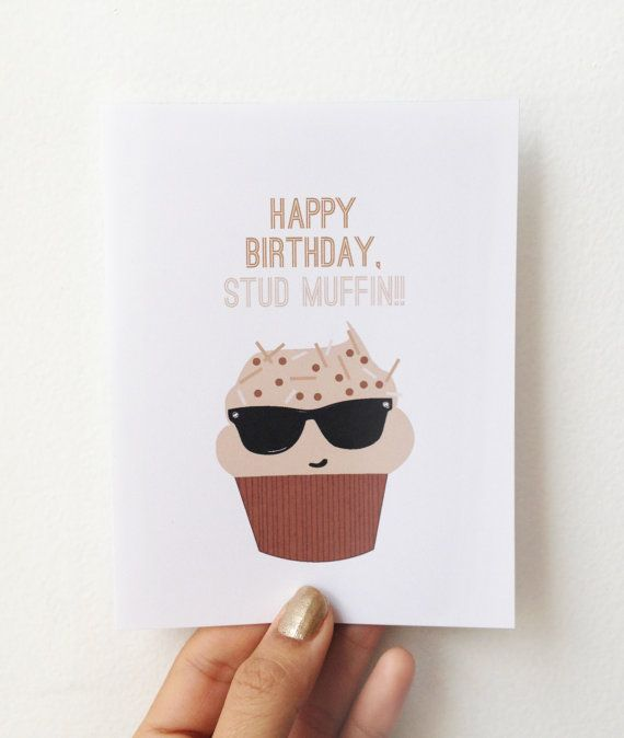 happy birthday stud muffin card by hellosleepywhale on etsy giving gifts pinterest. Black Bedroom Furniture Sets. Home Design Ideas