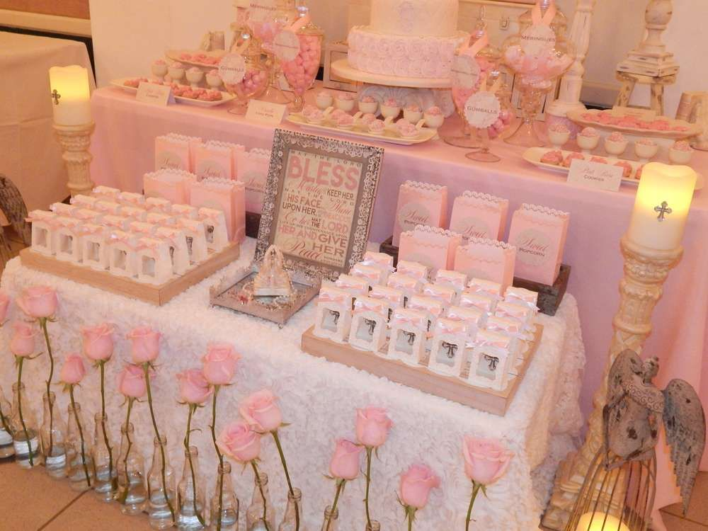Vintage first holy communion first communion party ideas - Decoration table communion fille ...