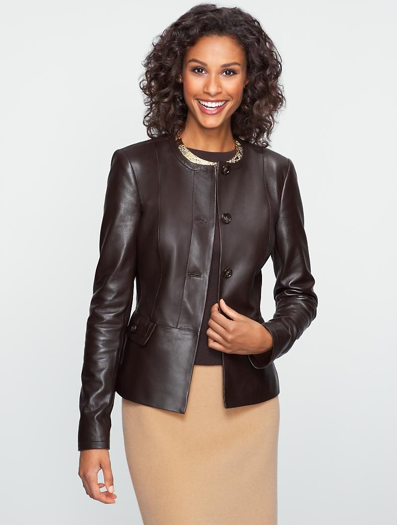 Talbots Jewel Neck Leather Jacket Professional Outfits Women Professional Dresses Business Outfits Women [ 1057 x 800 Pixel ]
