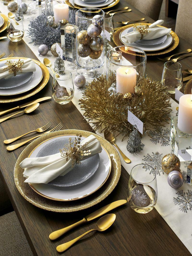 Lucia Gold 20 Piece Flatware Set Reviews Crate And Barrel Christmas Dinner Table Christmas Dining Table Christmas Table