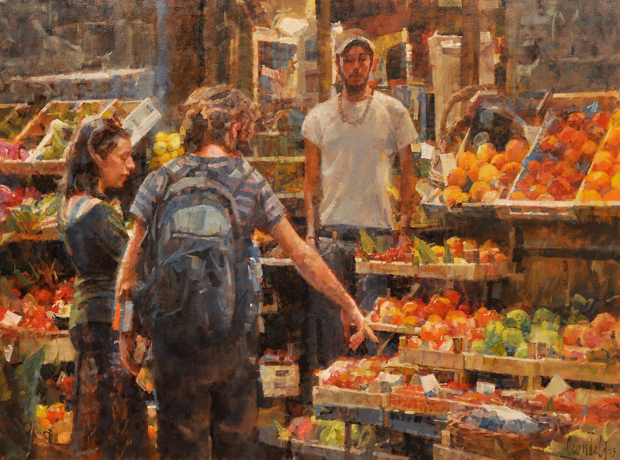 """""""Customers at the Greengrocer"""" oil/canvas, 30"""" x 40""""."""
