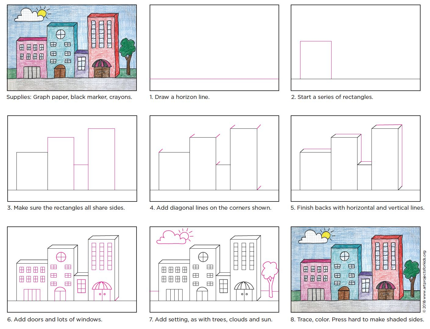 Draw 3D Buildings Step by step drawing, Kids art