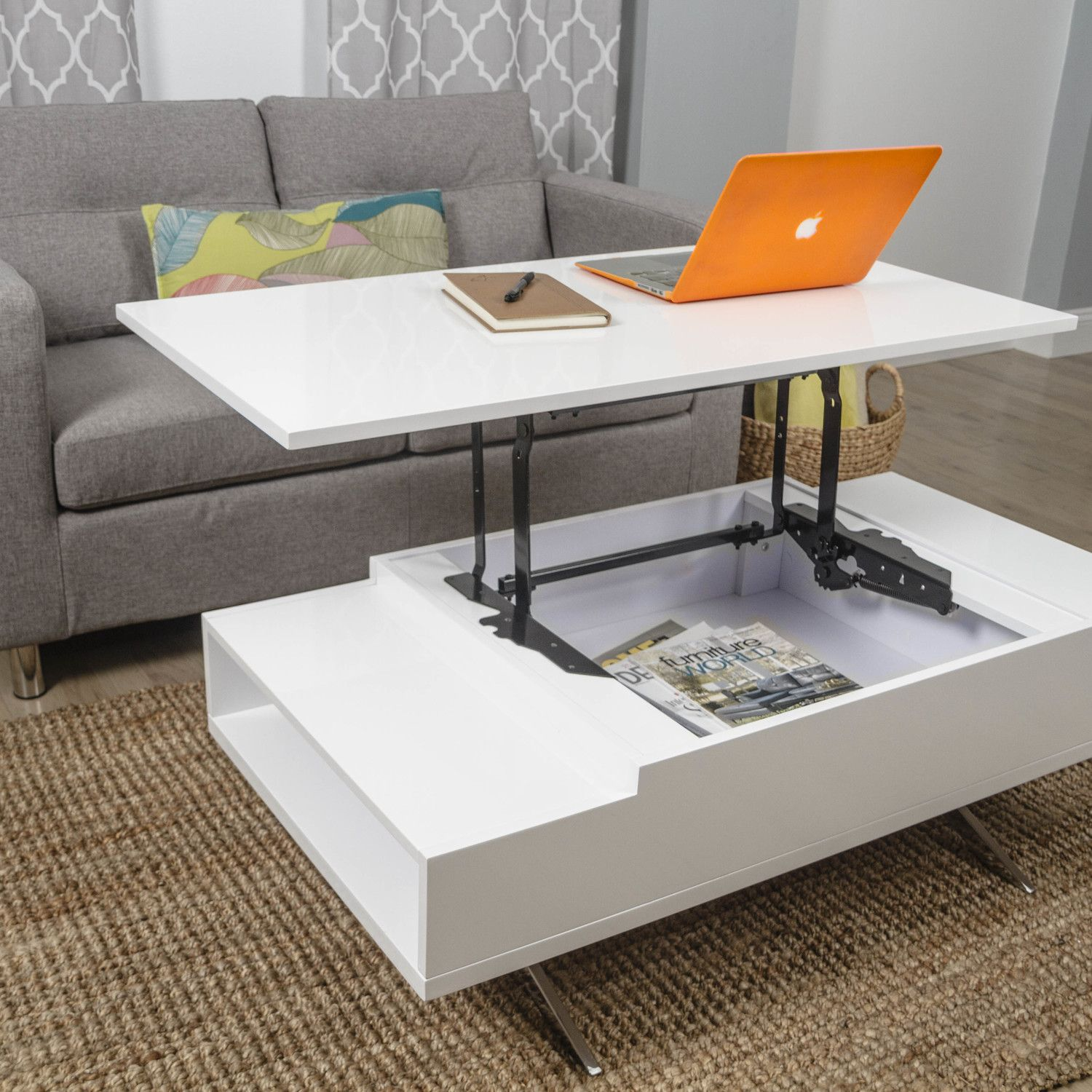 Computer Coffee Table Matrix Stelar White Lift Top Rectangular Coffee Table Small